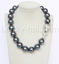 "AAA 19"" 20mm peacock black south sea shell pearls necklace leopard clasp j12633"