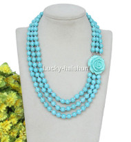 "17"" 3row 8mm round turquoise bead necklace flower clasp j12637"