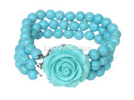 "8"" 3row 8mm round turquoise bead Bracelet flower clasp j12638"