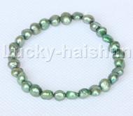 stretchy 8mm Baroque dark green freshwater pearls bracelet j12656