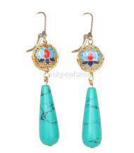 """Dangle 2.5"""" green turquoise Cloisonne Enamel earring 14K hook j12663"""
