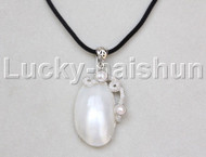 "stylish 1""X2"" natural white south sea shell pendant necklace 18KGP j12665"