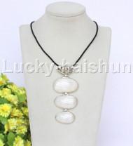 "stylish 4""X2"" natural white south sea shell pendant necklace 18KGP j12667"