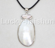 "stylish 2.5""X1.5"" natural white south sea shell pendant necklace 18KGP j12668"