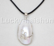"stylish 2""X1"" natural white south sea shell pendant necklace 18KGP j12669"