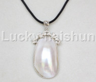 "stylish 2.5""X1"" natural white south sea shell pendant necklace 18KGP j12673"