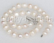 """stylish huge 17"""" 12mm white freshwater pearl necklace 18KGP clasp j12678"""