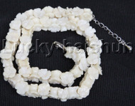 "AAA 16-18"" 11mm flower carved white coral necklace 18KGP clasp j12681"