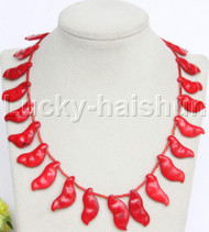"AAA 16-18"" 11mm carved pea red coral necklace 18KGP clasp j12682"