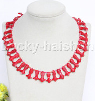 """AAA 16-18"""" carved goldfish fish red coral necklace 18KGP clasp j12683"""