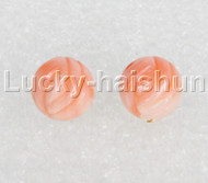 AAA 100% natural carved flower Form pink coral Earrings 14K j12691