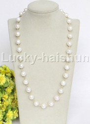 "natural 24"" 12mm white round freshwater pearls necklace j12693"