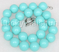 """18"""" 16mm sky-blue turquoise-blue south sea shell pearls necklace 18KGP clasp j12700"""
