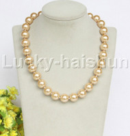 """18"""" 14mm light champagne light yellow south sea shell pearls necklace 18KGP clasp j12724"""