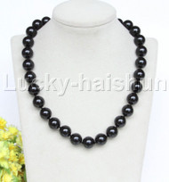 """18"""" 14mm black south sea shell pearls necklace 18KGP clasp j12742"""