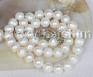 "natural 18"" 10mm string beaded round white freshwater pearls necklace j12780"