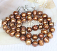 "natural 18"" 10mm string beaded round coffee freshwater pearls necklace j12781"