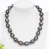 GENUINE BAROQUE 19MM BLACK SOUTH SEA TAHITIAN PEARL NECKLACE leopard clasp j12846