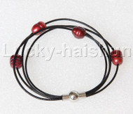 "Baroque 8"" 4 Rows rice wine red freshwater pearls Black leather Bracelets magnet clasp j12875"
