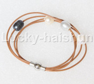 Baroque 4 Rows white pink gray freshwater pearls khaki leather bracelet magnet clasp j12879