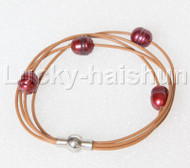Baroque 4 Rows wine red freshwater pearls khaki leather bracelet magnet clasp j12881