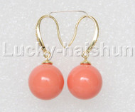 Dangle 14mm round coral-pink south sea shell pearls earring gold plated hook j12920