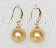 Dangle 14mm round golden south sea shell pearls earring gold plated hook j12921