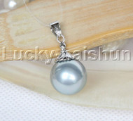 Amazing 14mm round beads gray south sea shell pearls necklace pendant j12983
