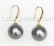 Dangle 16mm round dark gray south sea shell pearls earring gold plated hook j13004