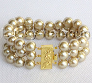 "8"" 3row 10mm round champagne south sea shell pearls beaded bracelet j13044"