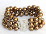 "8"" 3row 10mm round coffee south sea shell pearls bracelet j13048"