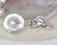 natural 24mm bleb white South Sea Mabe Pearls Earrings 925 silver USA 8# j13052