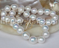 "natural 20"" 15mm string beads round white Reborn keshi pearl necklace j13054"