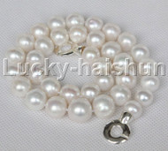 """18"""" 14mm Graduated string beads round white freshwater pearl necklace 925 silver clasp j13056"""