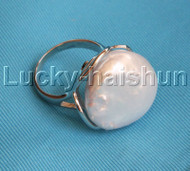 AAA adjustable 20mm luster coin white Reborn keshi pearls Rings 925 silver j13089