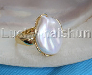 AAA luster adjustable 20mm coin white pearls Rings 925 silver filled gold j13090