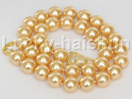 "AAA 18"" 12mm round golden south sea shell pearls necklace leopard clasp j13097"