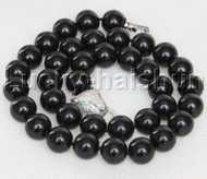 "AAA 18"" 12mm round black south sea shell pearls necklace leopard clasp j13100"