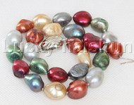 "17"" baroque Multicolor green gray wine red potato pearls necklace 18KGP clasp j13103"