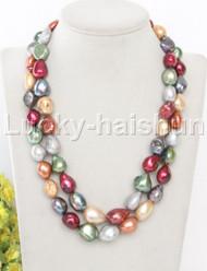 "32"" 17mm Multicolor green gray wine red potato pearls necklace leopard clasp j13104"