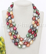 "16"" 3row 17mm Multicolor freshwater pearls necklace seashell clasp j13105"