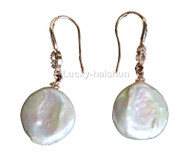 Super Luster 16mm Dangle coin fastener white pearls Earrings 925 silver hook j13106