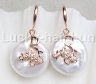 Super Luster 20mm Dangle coin bleb fastener white pearls Earrings 925 silver hook j13108