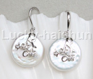 Super Luster 20mm Dangle coin bleb fastener white pearls Earrings 925 silver hook j13109