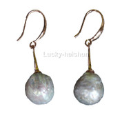 Super Luster 12mm Dangle round white Reborn keshi pearls Earrings 925 silver hook j13110