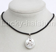 Super Luster 20mm coin fastener white pearls pendant necklace 925 silver j13111