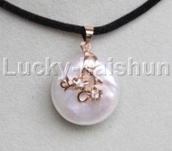 Super Luster 20mm coin fastener white pearls pendant necklace Rose Gold Filled j13112