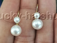 AAA natural Dangle round twin white AKOYA sea salt water pearls Earrings 14K gold hook j13114