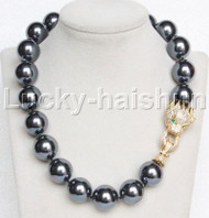 "AAA 18"" 20mm peacock black south sea shell pearls necklace leopard clasp j13120"