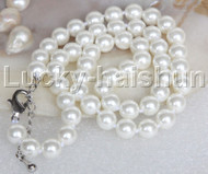 """AAA 18""""-20"""" 8mm white south sea shell pearls necklace 18KGP clasp j13121"""